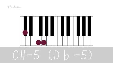 コード【C#-5(D♭-5)】をピアノで弾く。マイナーコード時の活用も紹介